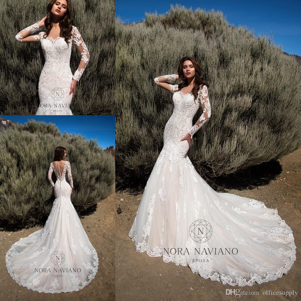 Pics Of Vintage Wedding Dresses: Mermaid Wedding Dresses 2019 Sheer Long Sleeves Illusion