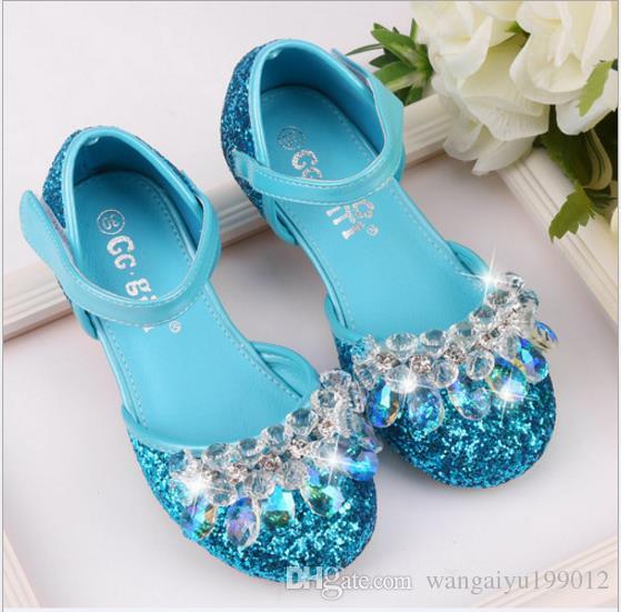 Kinder Aschenputtel Kristall Schuhe Mädchen Aisha Blau Prinzessin Schuhe Klavier Leistung Schuhe Silber Stuhl