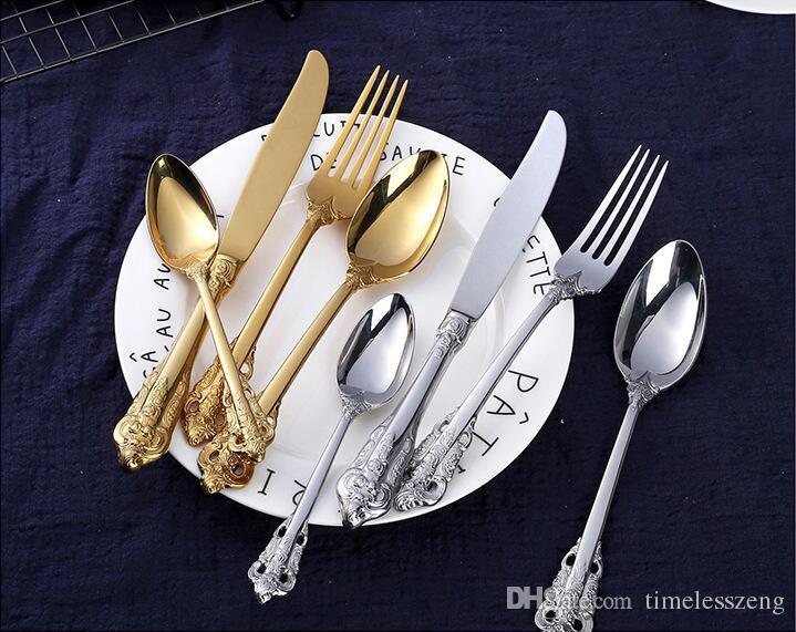 De haute qualité rétro Ménagère argent et couteau de couverts en acier inoxydable or cuillère fourchette 5 pièces dinnerware ensemble des services de vaisselle