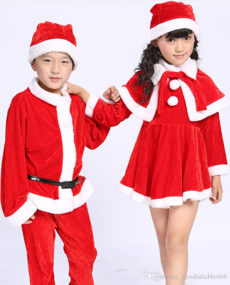 2019 Red Santa Claus Cosplay Clothing Set Children Father Christmas Costumes  Kids Christmas Boutique Clothes Boy Xmas Outfits Girls Dresses From ... - 2019 Red Santa Claus Cosplay Clothing Set Children Father Christmas