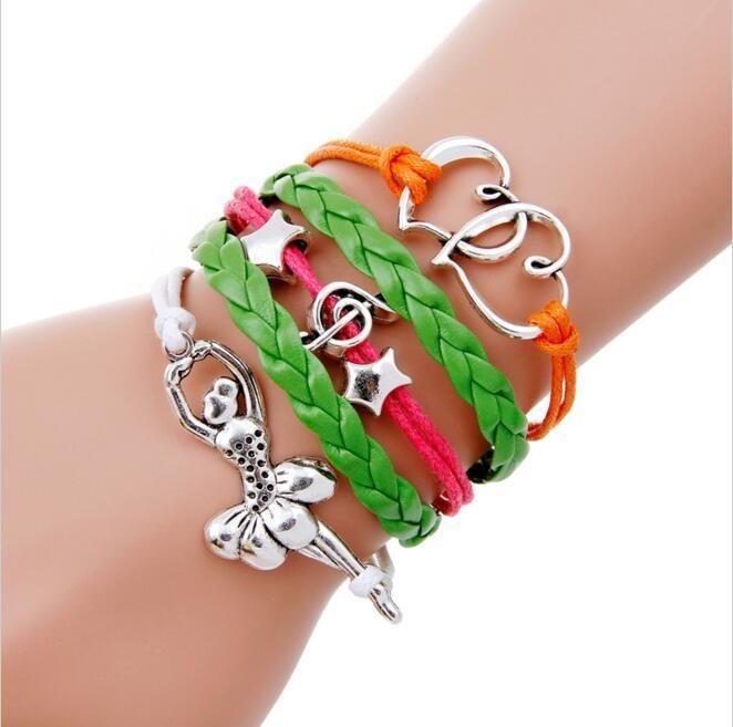 Heart Love Dance Dancer Charm Wrap Bracelets Leather Wax Bracelets Unisex kid child girls Women Dancing Girl Fashion
