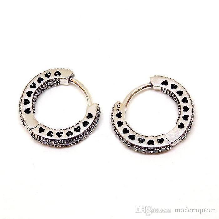Orecchini a cerchio in argento sterling s925 adatti bracciale stile originale 296317CZ H8