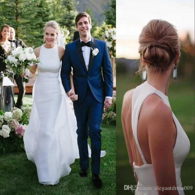 White Simple 2018 Mermaid Wedding Dresses With Detachable Train Jewel Neck Backless Court Train Wedding Bridal Gowns Custom Made