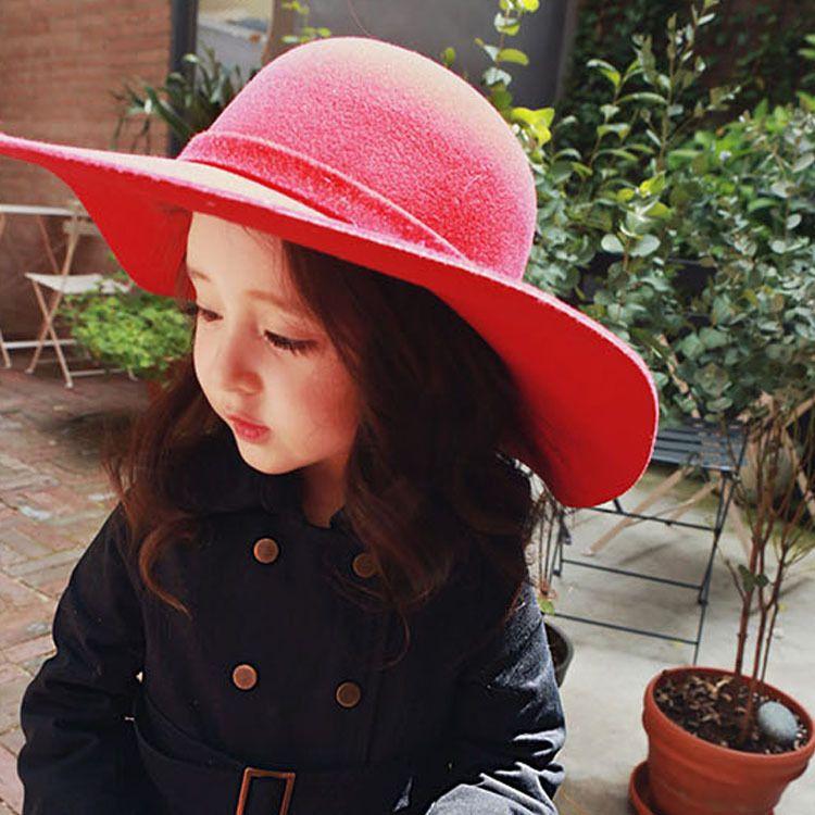 702ab662fa707 Summer Autumn Winter Warm Kids Boys Girls Vintage Wide Brim Cap Soft Wool  Felt Bowknot Bowler Floppy Children Sun Hat Beach Hat Canada 2019 From ...