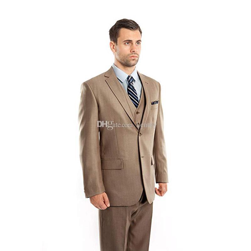 Compre Negocio Formal Marrón   Caqui Hombres Trajes De Boda Slim Fit Novio  Esmoquin Por Encargo El Mejor Hombre Chaqueta Blazer Pantalones Chaleco 3  Piezas ... 4ed0914b5974