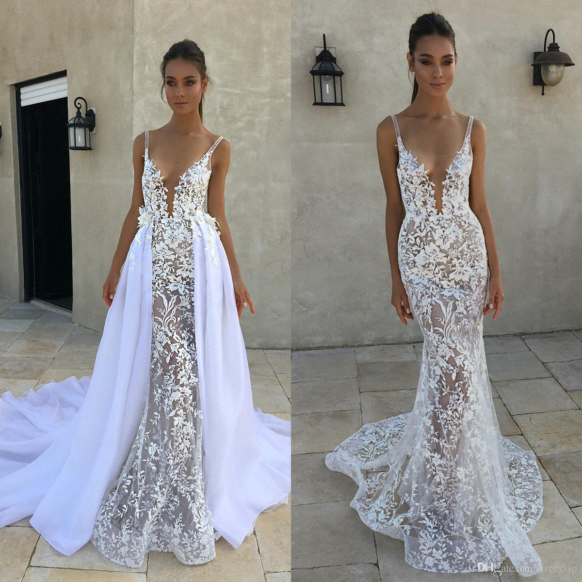 2018 Berta Mermaid Wedding Dresses With Detachable Skirt Deep V Neck Illusion Appliques Lace Wedding Gowns Sweep Train Sexy Bridal Dress