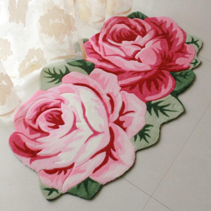 Compre Tapetes Em Forma De Flor Rosa E Tapetes Tapete De área Grande