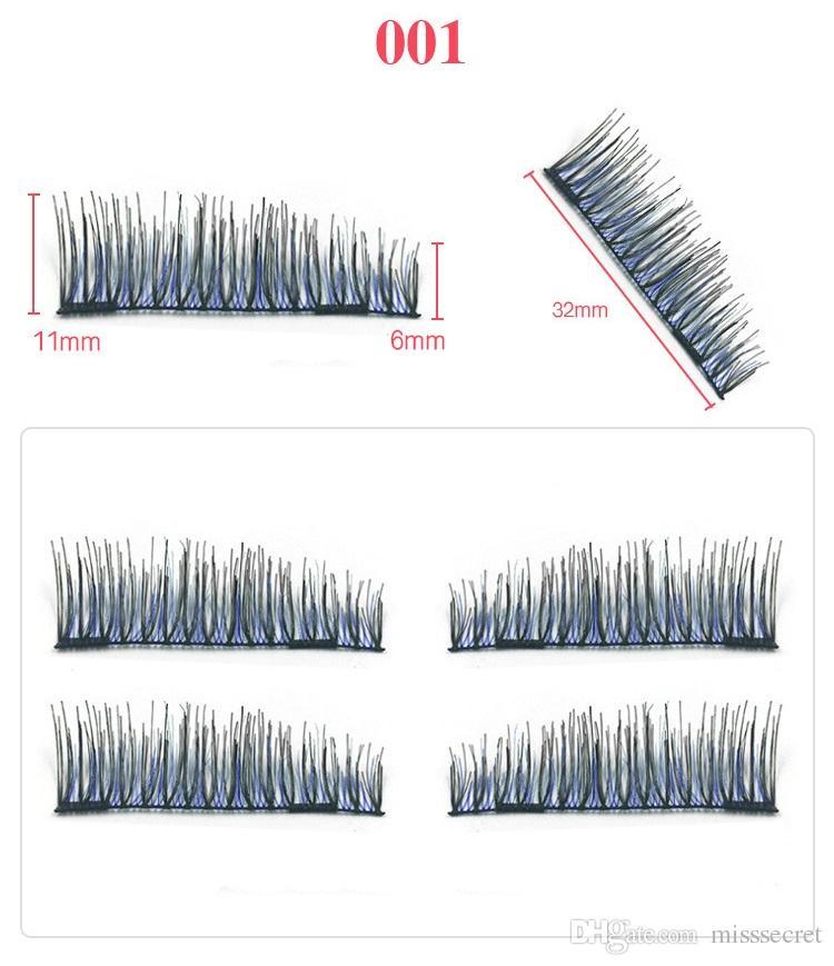 4 pz / paia 3D Ciglia Magnetiche Magnete Ciglia Finte Striscia Colorata Magnetica Ciglia Finte Ciglia 3D Riutilizzabili Ciglia Finte i