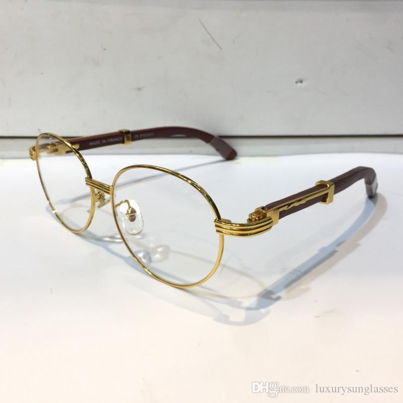 62d94c348d2 Luxury 8101013 Glasses Prescription Eyewear Vintage Round Frame Wooden Men Designer  Eyeglasses With Original Case Retro Design Gold Plated Glasses Frames ...