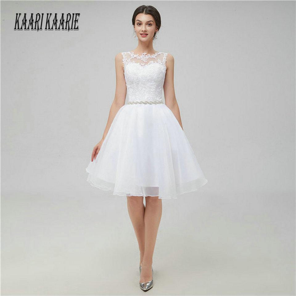 5406b51f6f3 2019 Sexy Ivory Short Prom Dresses 2018 Cheap White Prom Dress Scoop  Organza Appliques Zipper Knee Length Women Party Gowns Evening C18111601  From ...