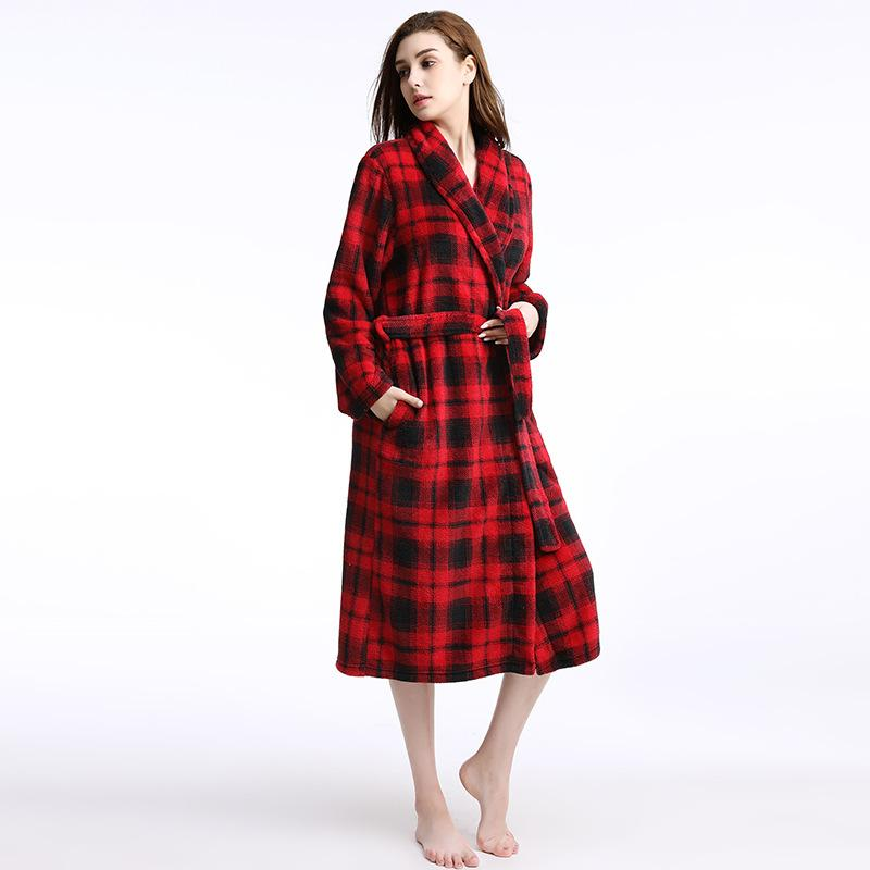 Plus Size Women Men Winter Flannel Robes Femme Homme Bathrobe Oversize Warm  Coral Fleece Dressing Gown Plaid Robe Autumn UK 2019 From Clothesg202 73adc9675