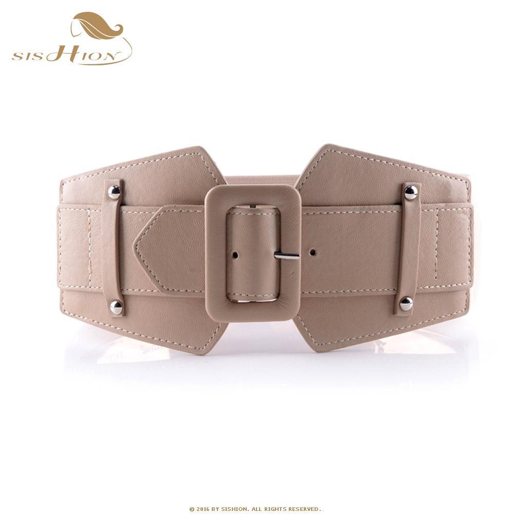 Compre SISHION Cinturones Anchos De La Vendimia Para Las Mujeres Diseñador  Famoso De La Marca Elástico Cinturones De Fiesta Camello Rojo De Las Mujeres  ... 3548c4fae40f