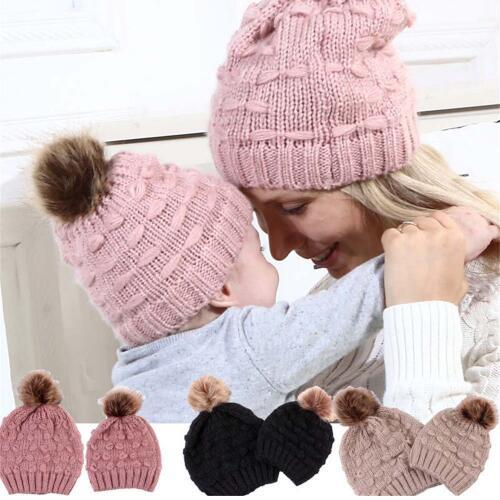 Family Matching Hat Winter Hat Cap Knitted Newborn Baby Knit Soild Woman Winter  Hat Pompom Bobble Beanie Hats KKA6009 Trilby Mens Hats From ... 0f6a3004f2c