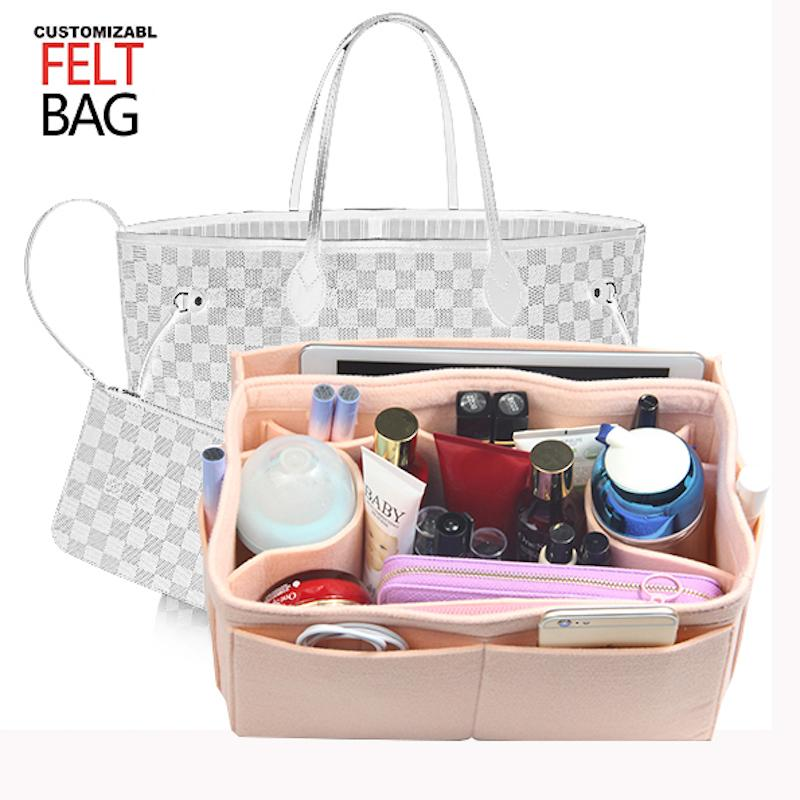 68bd94ac2a06 Customized Felt Insert Bag Organizer Bag In Handbag Purse Organizer 120  Size Diaper Pocket Detachable Zipper Travel Train Case Best Makeup Train  Case From ...