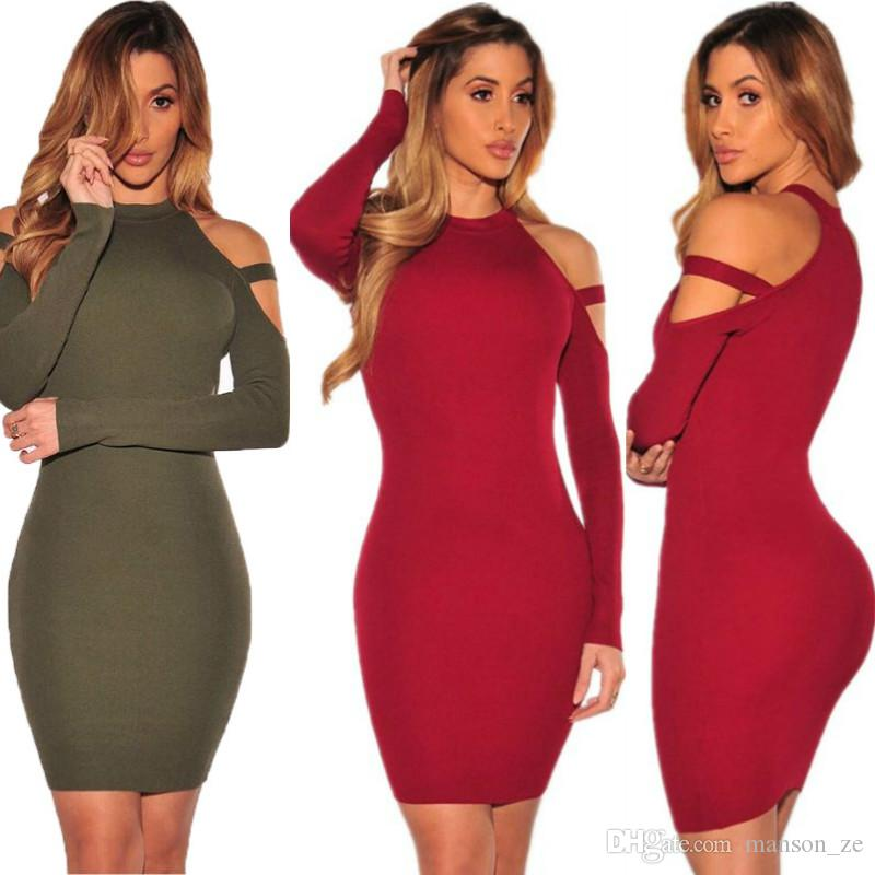 42a2c73ae4146 2018 Autumn Winter Fashion Sexy Dress New Spring Clothing Off Shoulder  Party Dresses Women Long Sleeve Bodycon Dress Sexy Sheath Package Hip