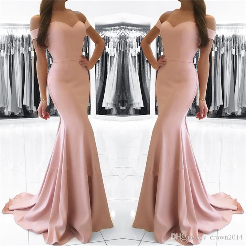 2019 Sereia Blush Rosa Fora Do Ombro Formal Vestido de Noite Barato Simples Elegante Elegante Cetim Longo Partido Lace-up Voltar Sob 100 Vestido de Dama de honra