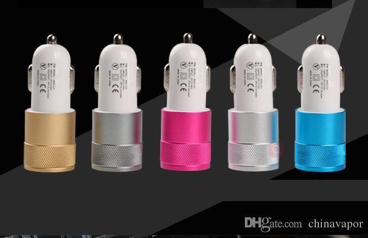 Universal cellphone dual USB Car Charger adapter mobile phone Aluminum 5V 2A 2 USB Dual port Auto Power Adapter car adapter for Smart phone