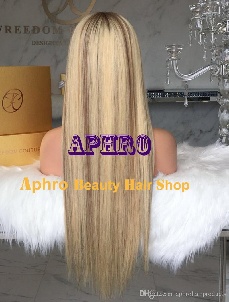 """Luxury European Remy Hair Silk Top Full Lace Wigs With Bangs Silk 5x5 20""""-30"""" 180% Density Lowlights Blonde Straight Full Lace Glueless Wigs"""