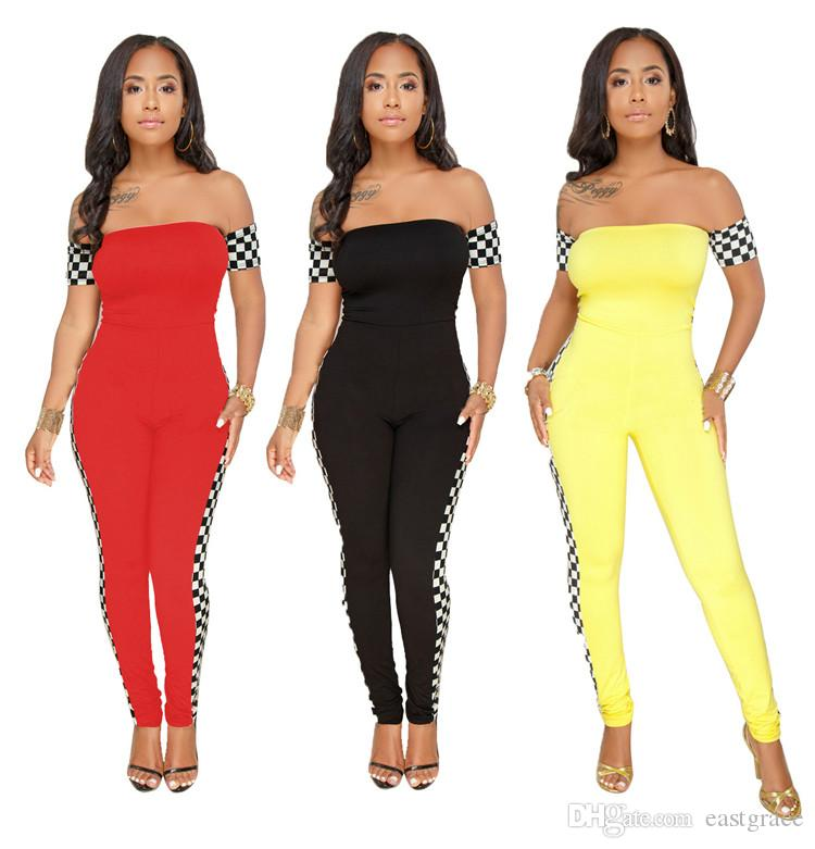 bd732209a9 3XL Plus Size Summer Long Jumpsuits Women Sexy Off Shoulder ...