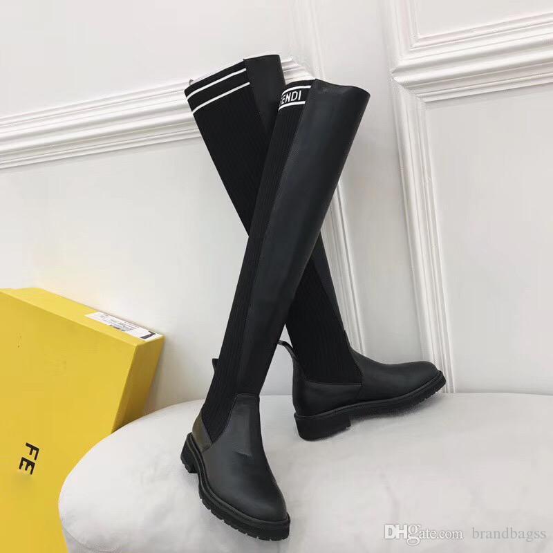 Stivaletti da donna di marca di lusso F lettera Slim sopra il ginocchio stivali alti a maglia sexy elastico moda coscia tacco piatto stivali invernali