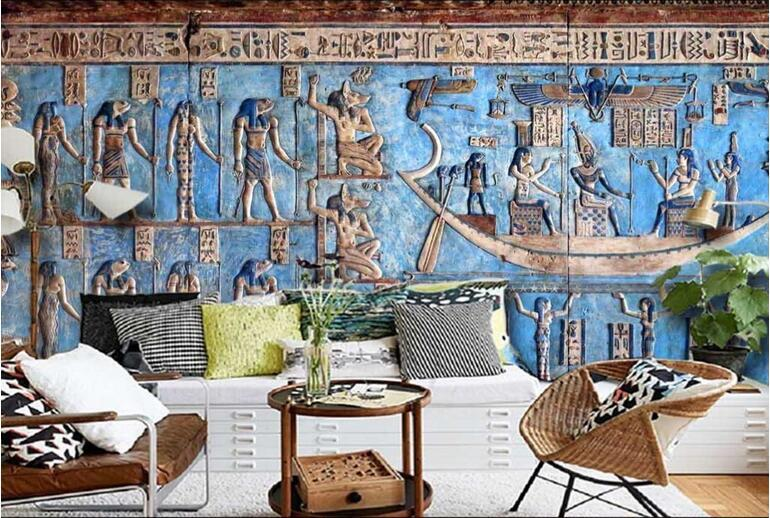 ancient egyptian celebration color relief classical large mural