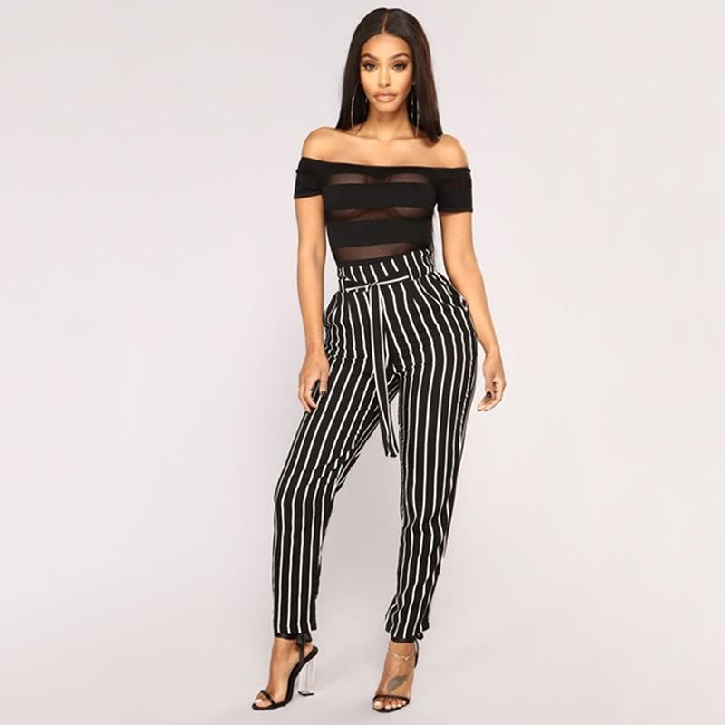 d81ff23e0a1 2019 Vertical Striped Pencli Pants Plus Size Women Elastic High Waist OL Trousers  Casual Bow Tie Drawstring Pants With Pocket From Liasheng05