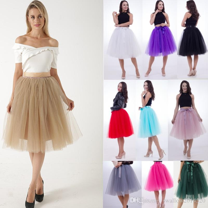 1328a7a54b 2019 5 Layers Pleat Tulle Skirts For Women Bowknot Fixed Satin Waist Tea  Length Midi Maxi Skirts Plus Size Petticoat Party Skirts From  Swallow2014520, ...