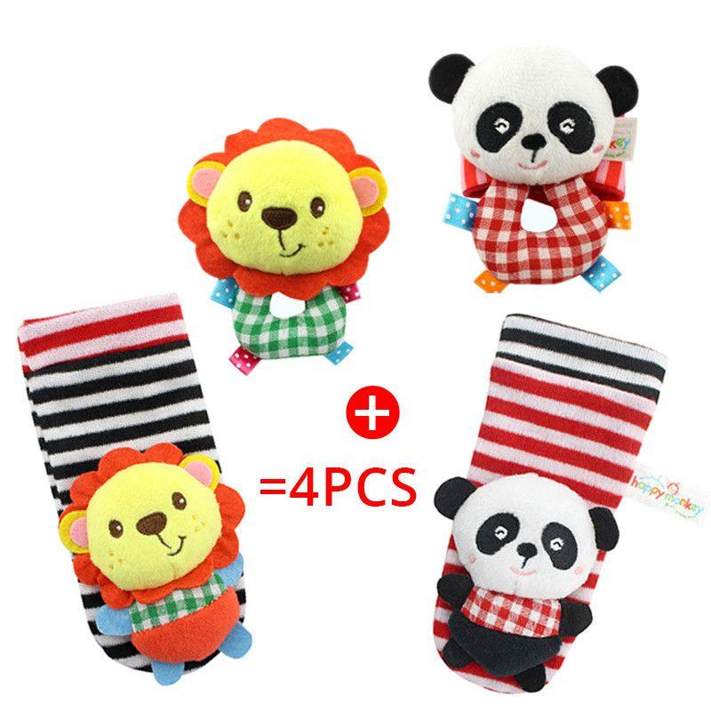 Happy Monkey Baby Infant Cute Animal Wrist Foot Sock Rattles Soft