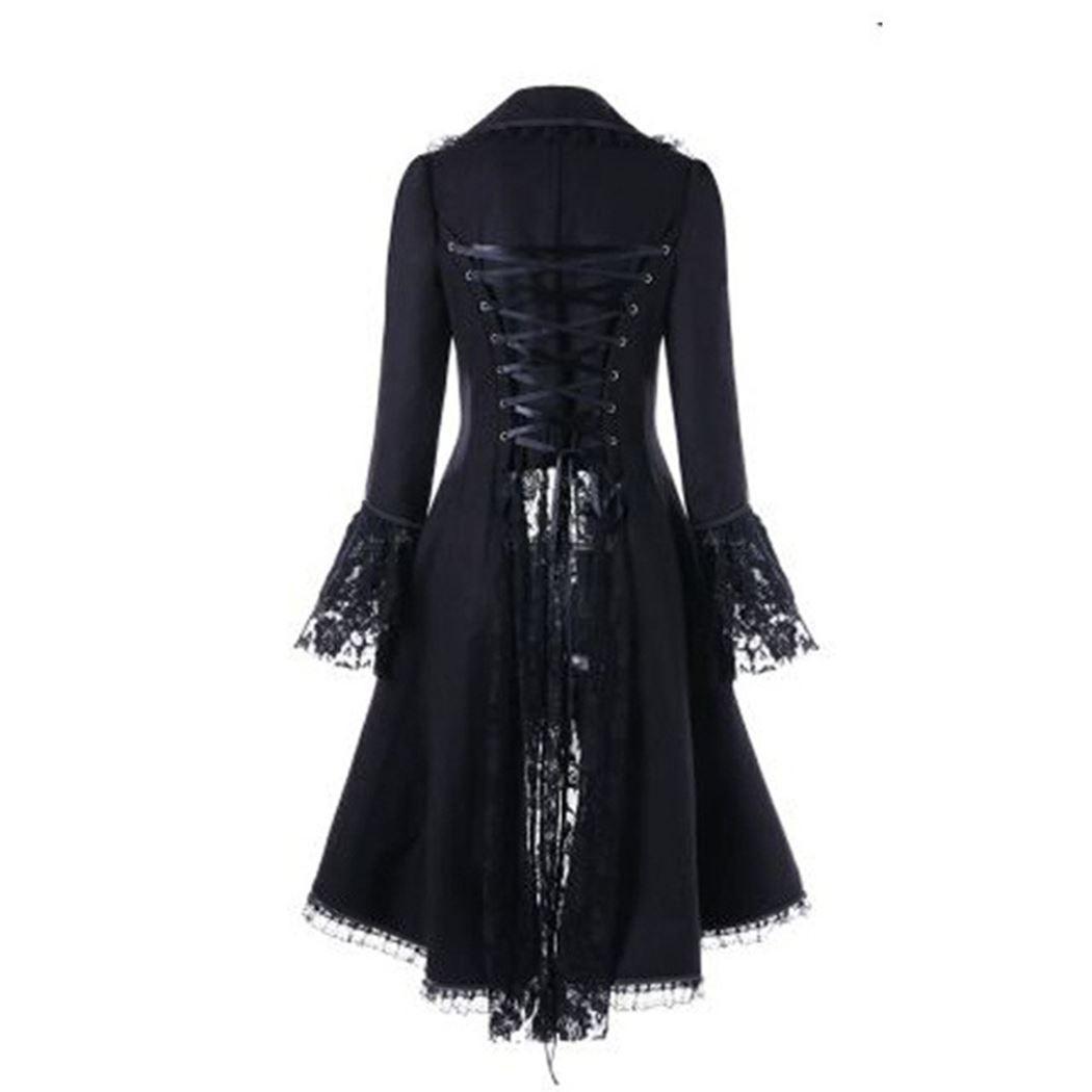 Gothique Rétro Femmes Dentelle Garniture Longue Manteau Médiéval Victorien Steampunk À Lacets Haute Basse Veste Femme Noble Tribunal Robe Cosplay