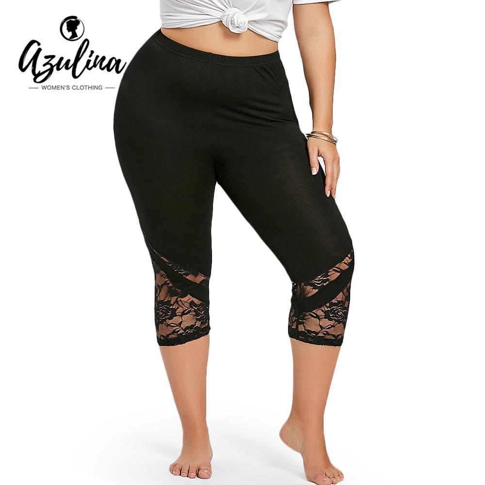 d2c3434df6 Compre AZULINA Mulheres Cintura Alta Plus Size Guarnição Do Laço Capri Yoga  Leggings Cintura Elástica Skinny Calças De Yoga Correndo Aptidão Magro Calça  ...