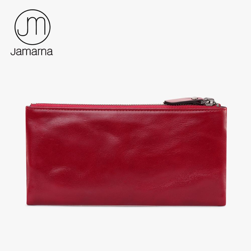 Jamarna Wallet for Women Genuine Leather Purse Long Wristlet Clutch Red Wallet Coin Female Purse Phone Holder Double Zipper