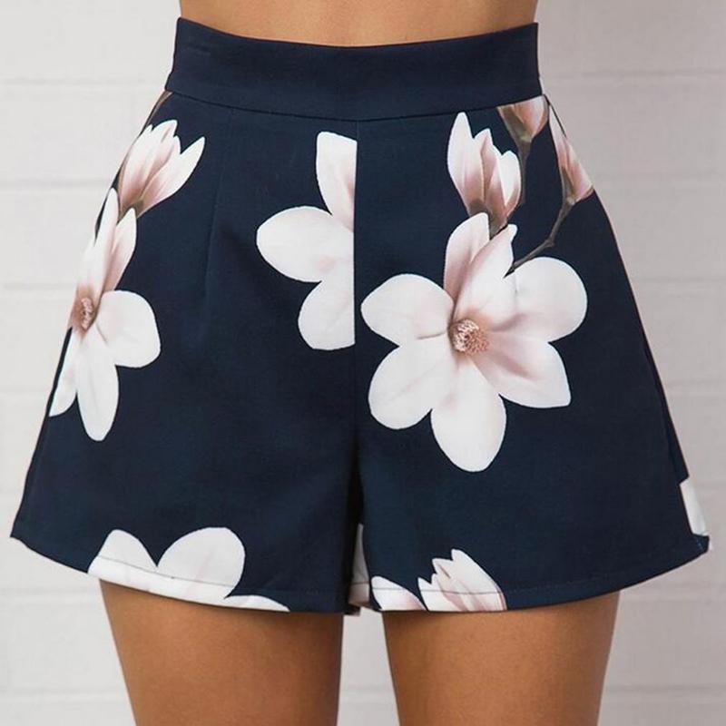 Compre Moda Verano 2018 Mujeres Pantalones Cortos Atractivos De Cintura  Alta Con Cremallera Flores Impresión Señoras De Las Muchachas Casual De Pierna  Ancha ... 9a8bf29bf33