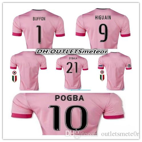 sneakers for cheap 4a8f5 8d0c9 2016 BEST QUALITY Italy JUVENTUS Pink POGBA SOCCER JERSEYS 15 16 DYBALA  MANEZUKIC MORATA HIGUAIN MARCHISIO BUFFON Pink MEN FOOBALL SHIRT