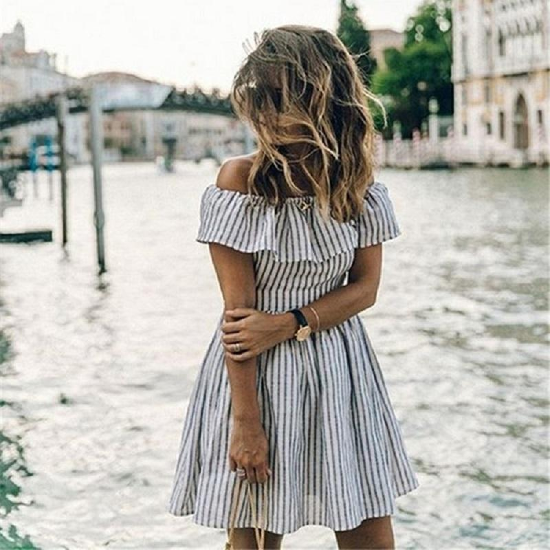 2da6be26782 2019 Summer Dress 2018 Women Striped Off Shoulder Dress Sexy Club Beach  Bandage Casual Mini Party Dresses Vestidos From Philipppe