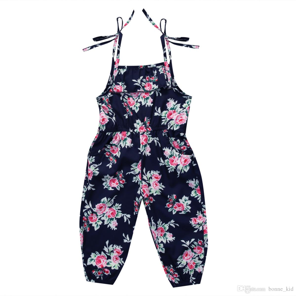 77a4ca8043aa Newborn Baby Girl Flower Print Bib Overalls Jumpsuit Outfit Summer Retro  Dungaree Kids Girls Clothing Boutique Clothes Baby Braces Suspenders Red  Suspenders ...