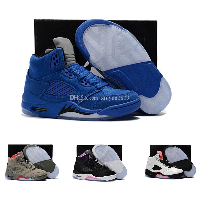 size 40 cd11c c409c Großhandel 2018 Nike Air Jordan 5 11 12 Retro Billig Verkauf Kinder V 5  Kinder Casual Luxus Schuhe Für Hohe Qualität 5s Kid Schwarz Weiß Rot Blau  Designer ...