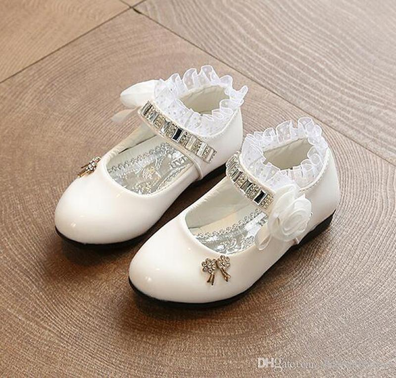S53 New 2018 Girls Princess Casual Leather Shoes Increased High Heels Bow Dancing Shoes Spring Autumn Children Shoes for Kids Girls