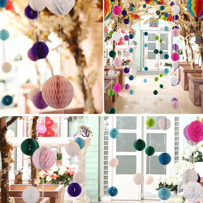 ECO Friendly Honeycomb Shape Balls Tissue Paper Flower Lantern Hanging Decoration Pompom For Home Party Supply 2 5xh Z