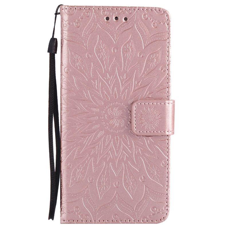 Mandala flor en relieve Flip Wallet Funda de cuero cubierta del teléfono para el iphone XS Max XR X 8 7 6 6S Plus Samsung S8 S9 S9 Plus Lite Nota 8 9