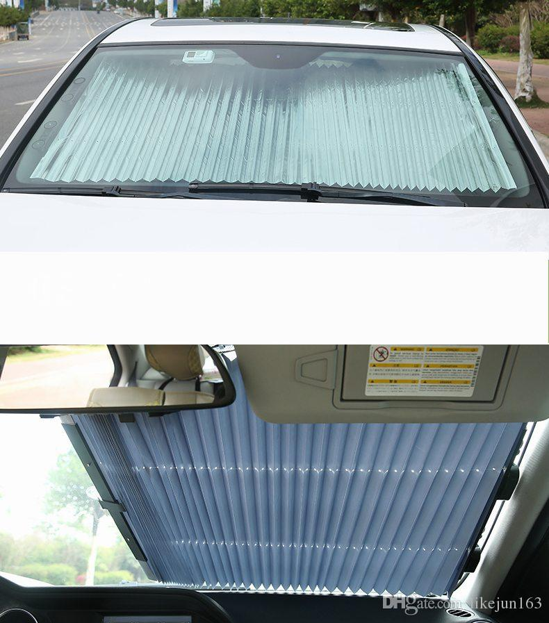 Retractable Car Front Window Sunshade Windshield Sun Shade Folding Curtain Auto  Front Window Visor With Sucker Window Sun Blockers Window Sun Protector  From ... 75e9cd1e4d5