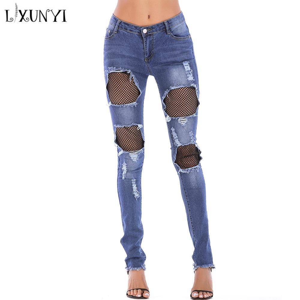 Pantalones Agujeros Jeans Hollow Cintura Out Lxunyi Lápiz Mujer Pitillo Summer De Mezclilla Destruidos Alta 3xl Rasgados E29IYeHWD