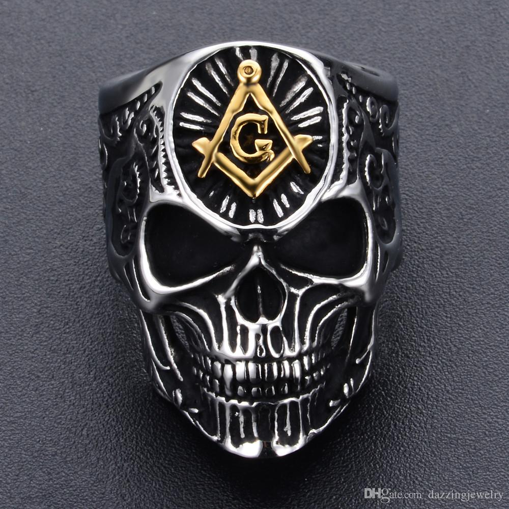2018 Newest Unique Special Design 316 Stainless Steel men skull head Masonic signet ring AG emblem freemason skeleton jewelry