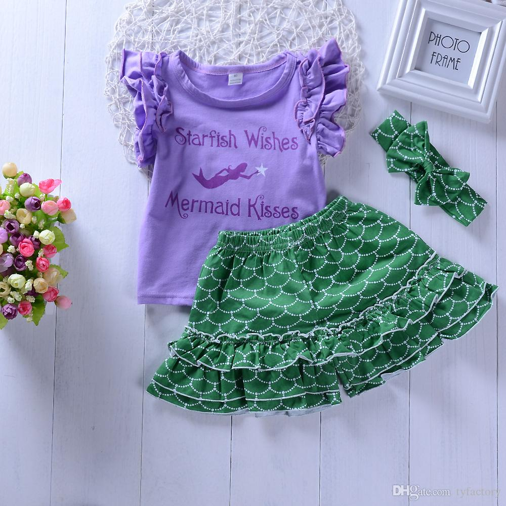 a5db295c9a7 2019 Baby Girl Mermaid Party Clothing Vest Shorts Headband Set Ruffles  Outfits Kid Casual Clothes Girls Summer Boutique Costume 1 6Y From  Tyfactory