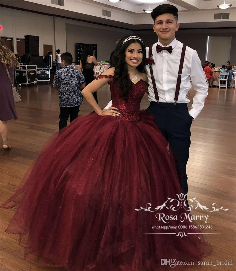 Borgogna Sweet 16 Masquerade Abiti Quinceanera 2020 Off spalla Ball Gown Vintage Lace Sequined Plus Size Abiti 15 Anos Prom Gowns