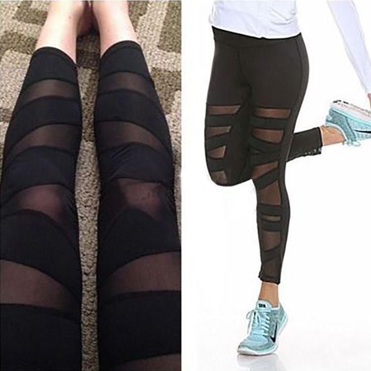 a33ce1945 2019 Ladies Nylon Spandex Gym Leggings For Women Mesh Insert Yoga Pants  Joggings Yoga Wear Wholesale From Lovson