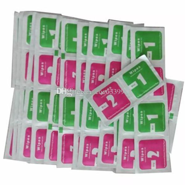 Toallitas secas + Toallitas húmedas + Absorbente de polvo Etiqueta de paño de limpieza para pantalla de vidrio templado para iPhone X 8 7 Plus Protectores Tablet Cámara LCD
