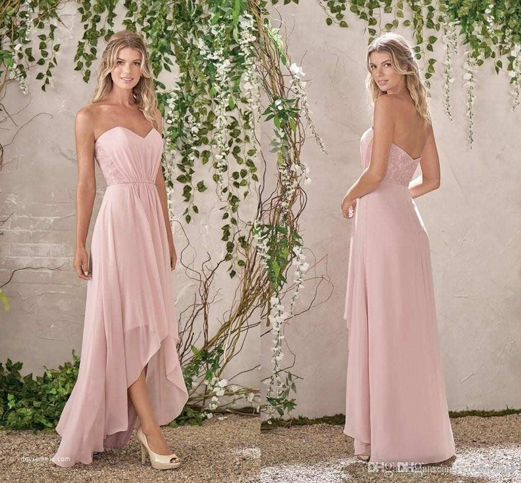 d6a5fb72196 Blush High Low Lace Bridesmaid Dresses 2018 A Line Chiffon Wedding  Bridesmaid Gowns Backless Sweetheart Beach Formal Wedding Guest Gowns  Formal Bridesmaid ...