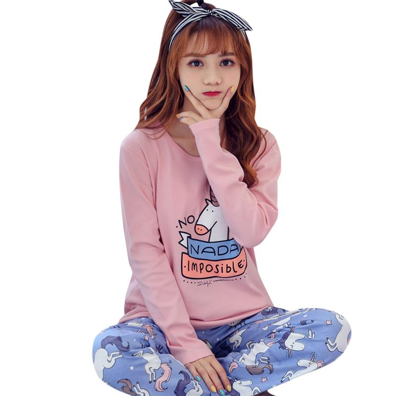 800dce4fba 2019 New Cute Women S Pajama Sets Unicorn Print Set Round Neck Women Pajamas  Cotton Plus Size Pajamas Suit For Women Femme From Roberte