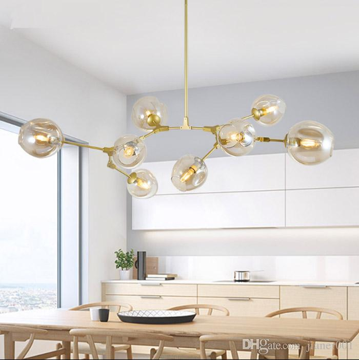 8lights Contemporary Kitchen Glass Pendant Lamp Lighting In Gold For ...