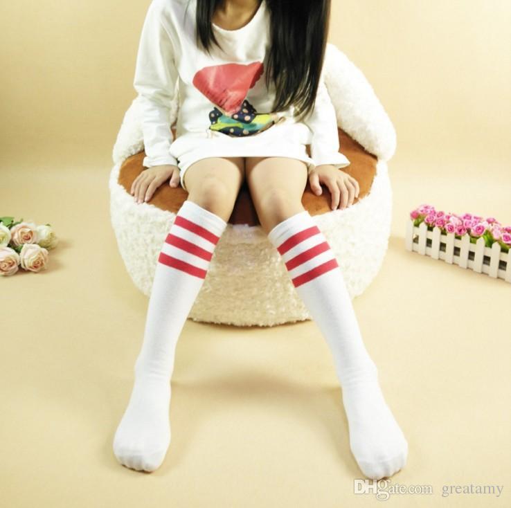Fashion kids girls sweet princess bowknot striped boot socks winter knee high warm socks children girls stockings